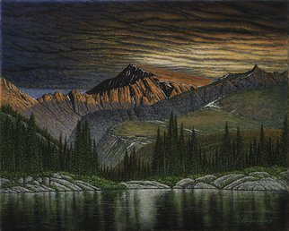 James Hildebrand: 'eventide', 2017 Oil Painting, Nature. Artist Description: End of Day in the Rocky Mountains...