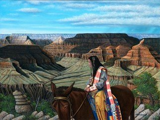 James Hildebrand: 'land of the navajo', 2016 Oil Painting, Southwestern. Artist Description: Navajo traveling Bright Angel Trail in the Grand Canyon ...