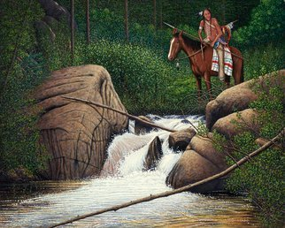 James Hildebrand: 'scouting the trails', 2017 Oil Painting, Western. Artist Description: Crow Scout in the Rocky Mountains 1835 ...
