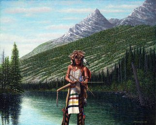James Hildebrand: 'the hunter', 2016 Oil Painting, Western. Artist Description: Crow Hunting in the Tetons 1835...