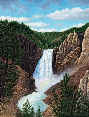 James Hildebrand: 'thunder valley', 2018 Oil Painting, Landscape. Artist Description: Yellowstone Falls...