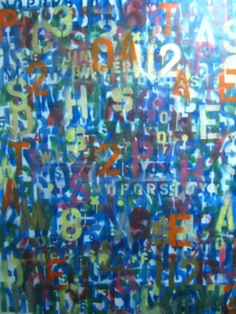 Jim Bilgere  'Alphabet Soup', created in 2011, Original Painting Oil.