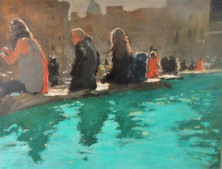 James Bones: 'by the pool', 2017 Oil Painting, Cityscape. Artist Description: View of trafagar square london. Figures sitting by the fountains in the sunshine...