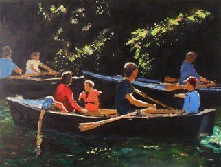 James Bones: 'rowboats', 2018 Oil Painting, Sailing. Artist Description: Rowing on the river cam...