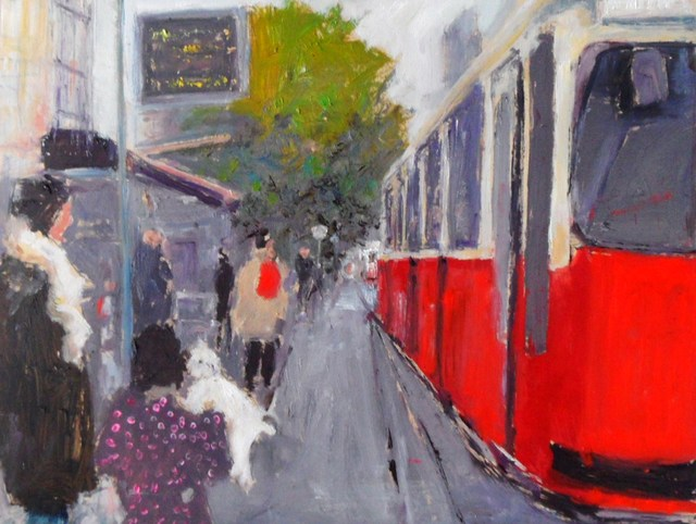 James Bones: vienna tram stop, 2018 Oil Painting