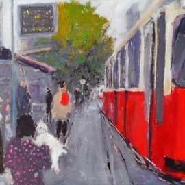 James Bones: 'vienna tram stop', 2018 Oil Painting, Culture. Artist Description: View of  tram stop in vienna with girl and dog...