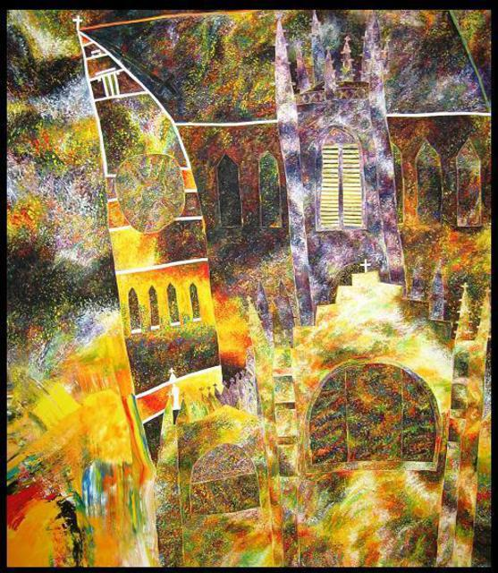 Artist Jim Haldane. 'Church' Artwork Image, Created in 1988, Original Painting Acrylic. #art #artist