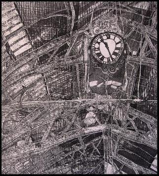 Jim Haldane: 'Day trip', 1992 Etching, Travel.  A black and white print that shows the vaulted roof and large clock of a Victorian- era train station. ...