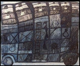 Jim Haldane: 'Police Van', 1969 Etching, Satire.  An old favourite from the sixties, an etching depicting a bus full of English