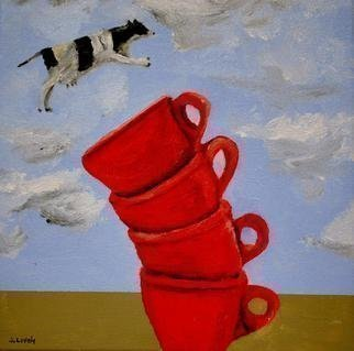Jim Lively: 'A Cow Jumps Over Four Coffee Cups', 2013 Acrylic Painting, Surrealism.                                            Acrylic and gallery wrapped canvas. Part of the going small