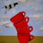 A Cow Jumps Over Four Coffee Cups By Jim Lively