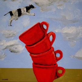 Jim Lively: 'A Cow Jumps Over Four Coffee Cups', 2013 Acrylic Painting, Surrealism. Artist Description:                                            Acrylic and gallery wrapped canvas. Part of the going small