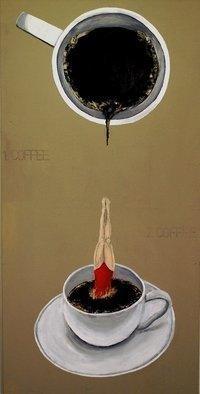 Jim Lively: 'A Second Cup of Coffee', 2012 Acrylic Painting, Surrealism.                                      Acrylic and pencil on gallery wrapped canvas                                                                                                                                       ...
