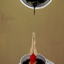 Jim Lively Artwork A Second Cup of Coffee, 2012 Acrylic Painting, Surrealism