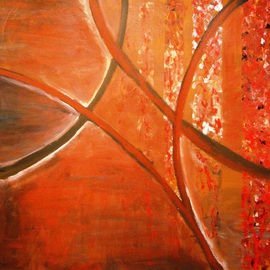 Burnt Orange Fending Off Crimson By Jim Lively