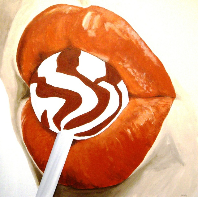 Jim Lively: Burnt Orange Lips and Lollipop, 2010 Acrylic Painting
