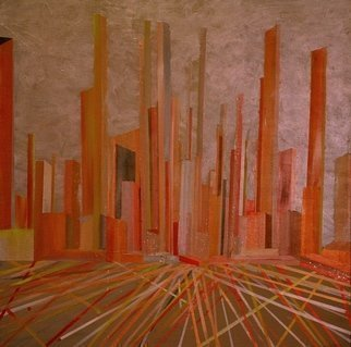 Jim Lively: 'Business District', 2013 Mixed Media, Cityscape.  acrylic on canvas ...