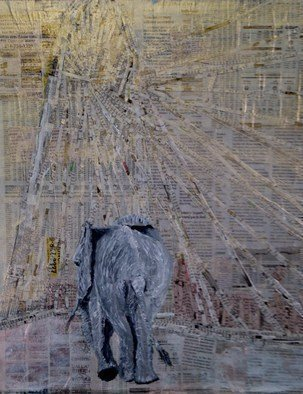 Jim Lively Artwork Elephant Crossing the Calatrava Bridge, 2014 Elephant Crossing the Calatrava Bridge, Abstract Figurative