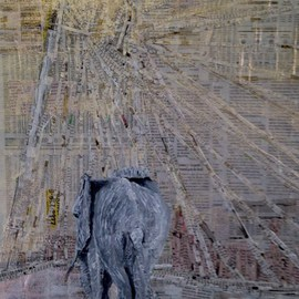 Jim Lively Artwork Elephant Crossing the Calatrava Bridge, 2014 Other, Abstract Figurative