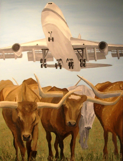 Jim Lively  'Herding Longhorns', created in 2010, Original Photography Color.