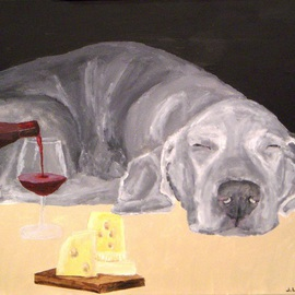 Jim Lively: 'More Wine Sir', 2009 Acrylic Painting, Figurative. Artist Description:  This painting will be donated to the Weimaraner Rescue of North Texas to be auctioned to benefit Weims. ...