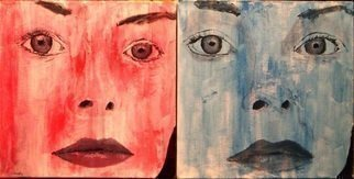 Jim Lively: 'Red Woman, Blue Woman', 2009 Acrylic Painting, Abstract Figurative.  diptych on two 10