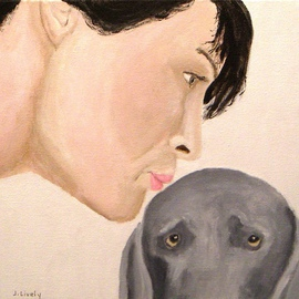 Jim Lively: 'The Girls Make Up', 2009 Acrylic Painting, Dogs. Artist Description:  acrylic on gallery wrapped canvas. Part of the