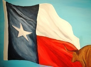 Animals Acrylic Painting by Jim Lively Title: Unattached Texas Flag and Longhorn, created in 2010