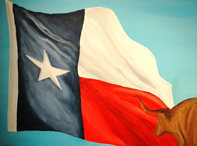 Jim Lively Unattached Texas Flag and Longhorn 2010