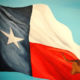 Jim Lively Artwork Unattached Texas Flag and Longhorn, 2010 Acrylic Painting, Animals