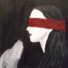 Weim and Blindfolded Woman By Jim Lively