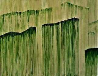Jim Lively: 'urban green', 2020 Acrylic Painting, Abstract Landscape. Asian Influenced...