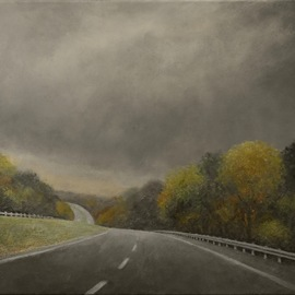 Approaching Storm Highway Hills  By James Morin