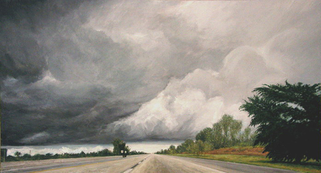 James Morin  'Approaching Storm Turnpike', created in 2001, Original Painting Oil.