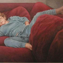 James Morin: 'TV Watcher Boy in Blue Pajamas', 1997 Oil Painting, Figurative.