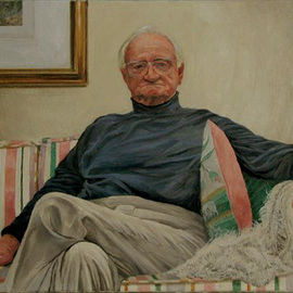 James Morin: 'TV Watcher Elderly Man', 1998 Oil Painting, Figurative.