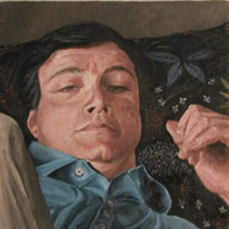 Artist: Jim Morin - Title: TV Watcher with Blue Floral Pillow - Medium: Oil Painting - Year: 1998