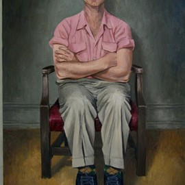 James Morin: 'TV Watcher with Pink Shirt', 2002 Oil Painting, Figurative.