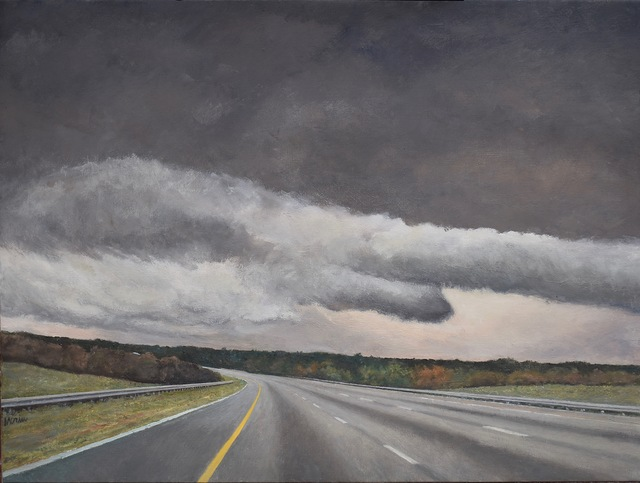 James Morin  'Approaching Storm Highway', created in 2020, Original Painting Oil.