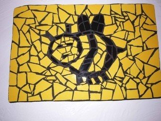 James Rose: 'MOSAIC BEE WALL HANGING', 2010 Mosaic, Other.   Up for sale is a mosaic bumble bee wall hanging on wood. It is handmade by me and is hanging up in the hallway. The piece measures 13 1/ 2 inches by 9 inches. The wood is painted black on the back. Thanks for checking it out! ...