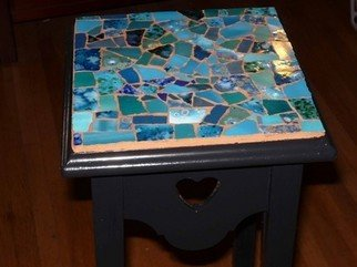 James Rose: 'SMALL SIDE TABLE', 2010 Mosaic, Other.  UP FOR SALE IS A SMALL MOSAIC TABLE THAT I MADE! THE BASE OF THE TABLE IS BLACK WITH BLUE TILES AND TERRACOTTA GROUT. THE HEIGHT OF THE TABLE IS 26 INCHES AND THE TOP IS 8 BY 8 INCHES. I AM GOING TO SAY SHIPPING THIS OUT WILL BE...