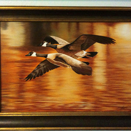 Jimmy Wharton: 'Golden Pond', 2008 Oil Painting, Famous People. Artist Description:      Geese flying over water                   ...