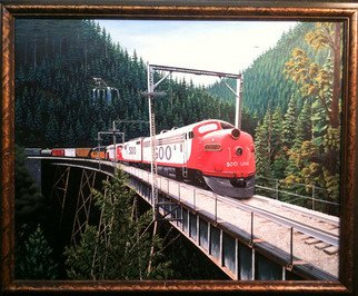 Trains Oil Painting by Jimmy Wharton Title: Soo train line, created in 2010
