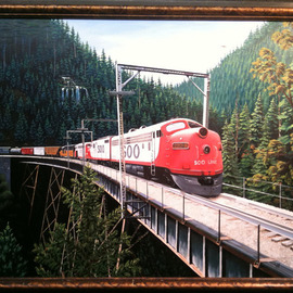 Jimmy Wharton Artwork Soo train line, 2010 Oil Painting, Trains