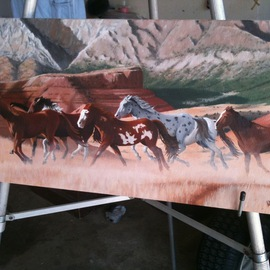 Jimmy Wharton Artwork Stampead, 2011 Oil Painting, Animals
