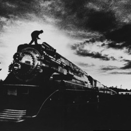 Jim Wright: 'American Freedom Train, 1976', 2010 Black and White Photograph, Transportation. Artist Description:    bicentennial train pulled museum cars city to city       ...