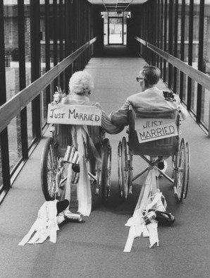 Jim Wright: 'Just married', 1981 Black and White Photograph, People. Artist Description:  groom was 94, bride 88 ...