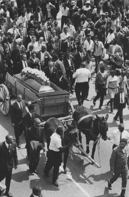 Jim Wright: 'Martin Luther King Jr  funeral', 1968 Black and White Photograph, People. Artist Description:   downtown Atlanta ...