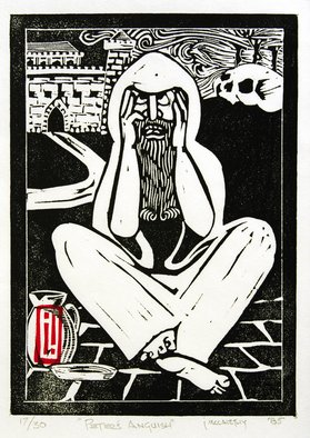 Jack Mccarthy: 'Peters Anguish', 1985 Linoleum Cut, Religious.  Somerset Japanese ...