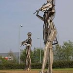 Musicians from Dancers sculpture outside Strabane Lifford in Ireland By Joan Shannon